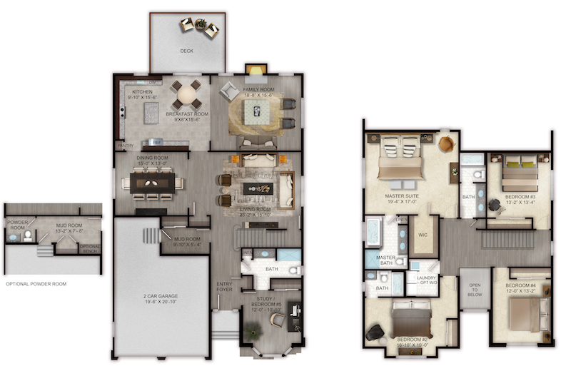 Four bedroom floor plan at Old Bridge, NJ homes for sale