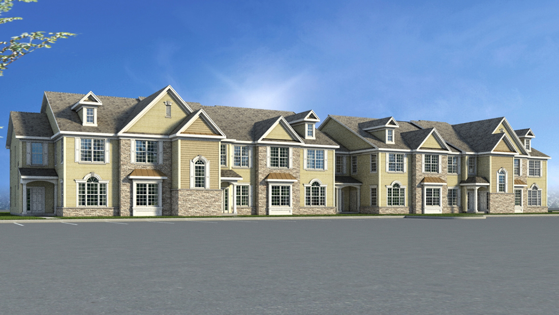 Virtual drawing of the exterior of Woodhaven Common Apartments